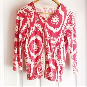 J. Crew Tie Dye Cardigan in Pink and Cream - Small